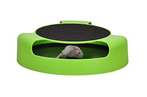 """Tech Traders®, bewegliches Katzenspielzeug """"Fang die Maus"""" aus Plüsch mit Kratzmatte für die Krallenpflege - 3"""