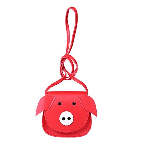 Dorical Messenger-Bag für Mädchen und Jungen Cartoon Pig -Mini Umhängetaschen für Schule und Cosplay, OutdoorRucksack,Ausverkauf(Rot)