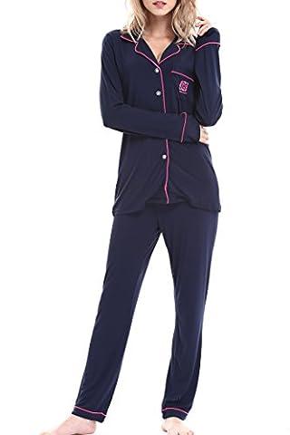 Damen Schlafanzüge Nachtwäsche langen Ärmeln Pyjama by Nora Twips, Farbe blau/rosa, Größe M