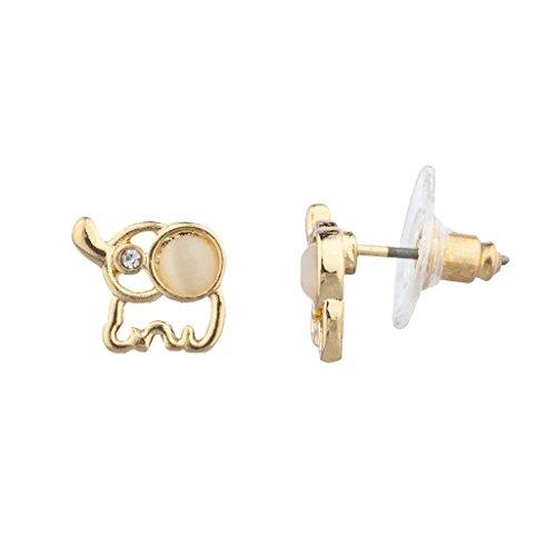 Lux accessori oro tono bianco opale pietra Mini Elefante-Orecchini a perno