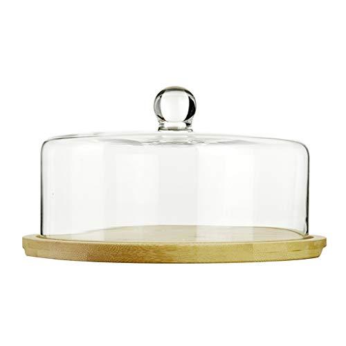 C-J-Xin Support de gâteau en verre, dôme en verre résistant à la poussière de dôme de gâteau d'hôtel de dôme en verre de dôme de salon 28 * 28 * 15CM plat de fruits (taille : 28 * 28 * 15CM)