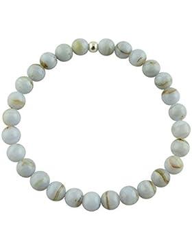 Sunsara Traumsteinshop Chalcedon Armband Edelstein Kugeln (Perlen) 6 mm und 925er Silberkugel Heilsteinarmband...