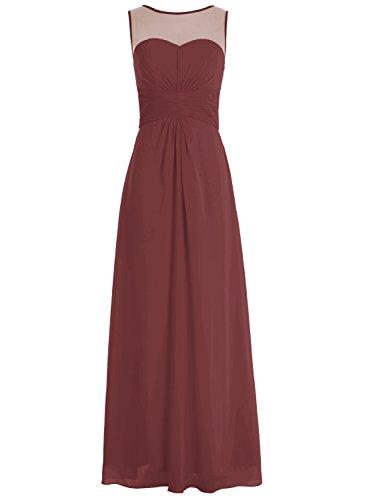 Bbonlinedress Robe de demoiselle d'honneur robe de soirée chiffon longueur ras du sol Bordeaux