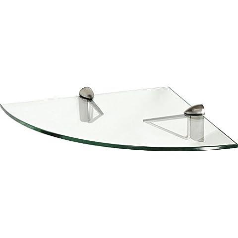 IB-Style - Mensola in vetro | 12 variazioni | Angolo Mensola - 350 x 350 x 10 mm satinato + Clips Triangolo acciaio inossidabile