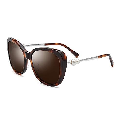 FURUDONGHAI UV400 Braun Schwarz Cat Eye Plate Sonnenbrille Damen Polarized Duple Pearl Sonnenbrille Distaff Glasses Driving Mirror besonders geeignet für sommerreisen oder Outdoor s (Farbe : Brown)