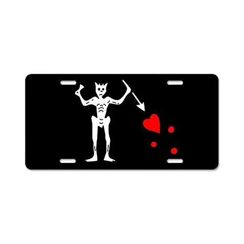 BNHF CafePress - Blackbeard Flag Aluminum License Plate - Aluminum License Plate, Front License Plate, Vanity Tag