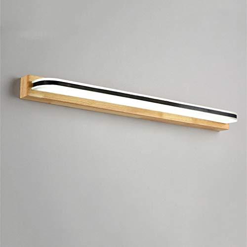 GCCI Kreatives Foto-Feuer vor hellem geführtem vorderem nordischem einfachem Spiegel-Make-up Kreative Lampe beleuchtet Wand-hölzernes Badezimmer-Toilette,Weißes Licht 62cm12w - Wand Beleuchtete Make-up-spiegel
