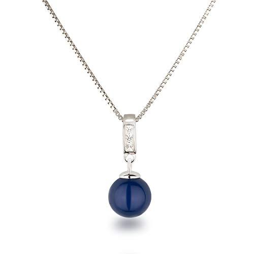 Schöner-SD Silberkette mit Anhänger Perle 10mm und Zirkonia 925 Silber rhodiniert dunkel-blau