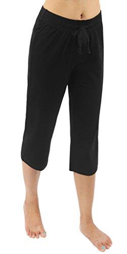 sporthosen damen schwarz 3 4 Jogging hose sport Fitness Caprihose Leggings,S