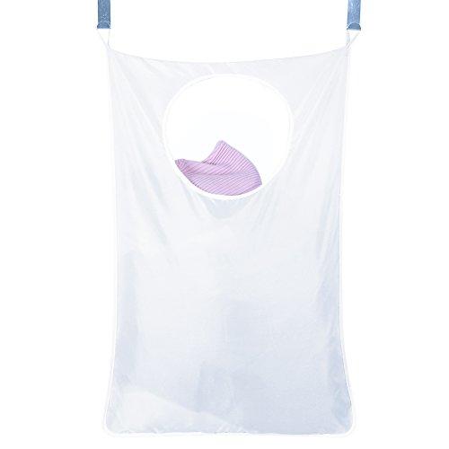 Wäschesammler Wäschesack Wäschetasche Aufbewahrung für die Schmutzwäsche platzsparend (Weiß)