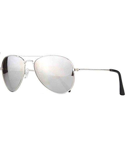 caripe Pilotenbrille Sonnenbrille Kinder - pil (One Size, 3701 - silber - silber verspiegelt)