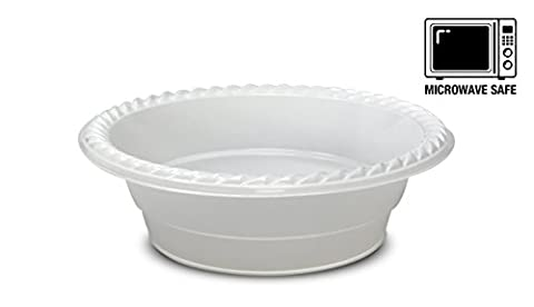 [100 Pack] High Quality Extra Strong Disposable Plastic Bowls Microwave Safe, BPA & Styrene Free, White (12oz -