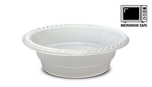 [100 Pack] High Quality Extra Strong Disposable Plastic Bowls Microwave Safe, BPA & Styrene Free, White (12oz - 350ml.)