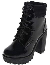 Catwalk Women's Fur Cuff Combat Boots