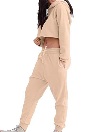 Andopa Damen gemütliche solid color mit kapuze geerntete konische anzug jog set S Khaki
