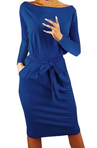 Frühling Herbst Minikleid Damen Freizeit Langarm Rundhals Kleid mit Bandage Blusenkleider Mode Slim Kleider Wickelkleider Cocktailkleid Abendkleider Partykleid (M, Blau)