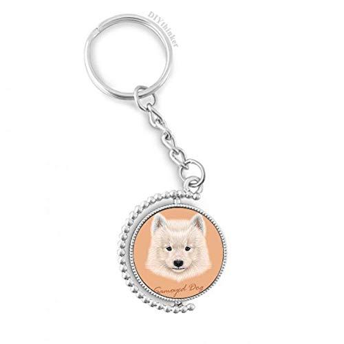DIYthinker Weiß Samojede Haustier Hund Tier Drehbare Schlüsselanhänger Ringe 1.2 Zoll x 3.5 Zoll Mehrfarbig -