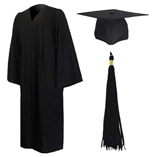 GraduationMall Matt Akademischer Talar Doktorhut und Quaste für Hochschule und Bachelor Schwarz Large 51(166cm - 172cm) -