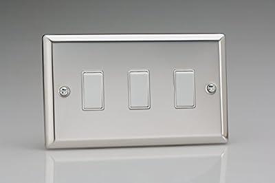 Varilight 3-Gang 10A 1- or 2-Way Rocker Light Switch (Twin Plate) Mirror Chrome XC93W from Varilight
