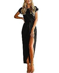 YOINS Sommerkleid Damen Lang Maxikleider für Damen Strandkleid Sexy Kleid Kurzarm Jerseykleider Strickkleider Rundhals mit Gürtel Langarm,EU32-34/XS,Schwarz-01