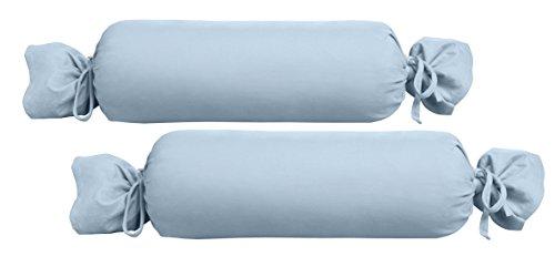 Biberna 0077144 Jersey-Kissenhülle für Nackenrolle aus 100 % Baumwolle, 2er-Pack, 15 x 40 cm Blau, 27 x 18 x 2 cm -
