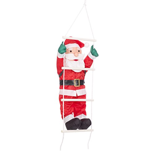 The christmas workshop 87730 - decorazione da appendere a forma di babbo natale che si arrampica su una scala, 60 cm, colore: rosso/bianco
