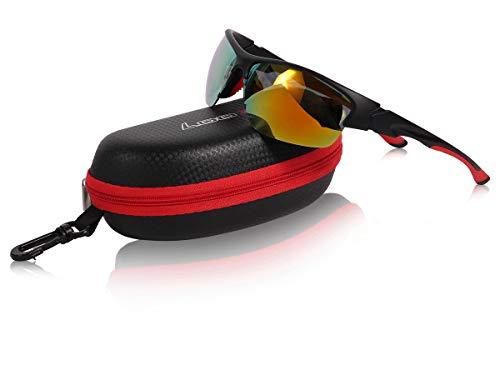 Loox Sonnenbrille Melbourne Sportbrille Fliegerbrille Damen Herren Polycarbonat Unisex - stabiles Gestell, rot