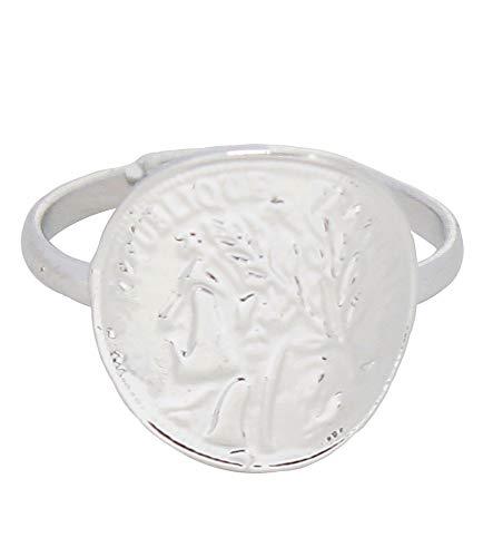 Musthaves anello da donna con moneta romana, in metallo, taglia unica e base metal, einheitsgröße, colore: argento, cod. r304-057