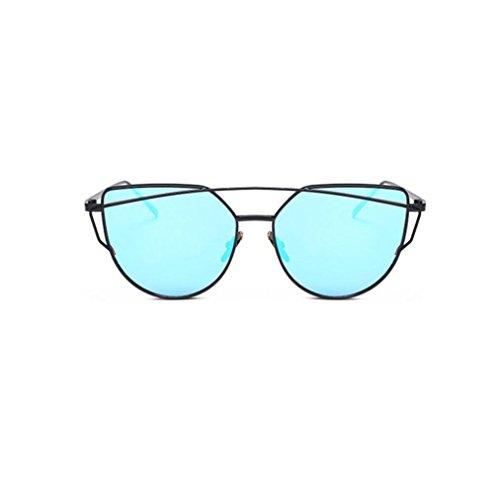 Ularma Damen Twin-Träger Vintage Classic Metallrahmen Sonnenbrille Katzenaugen Brille Reflektierenden Spiegel (Blue(schwarz))