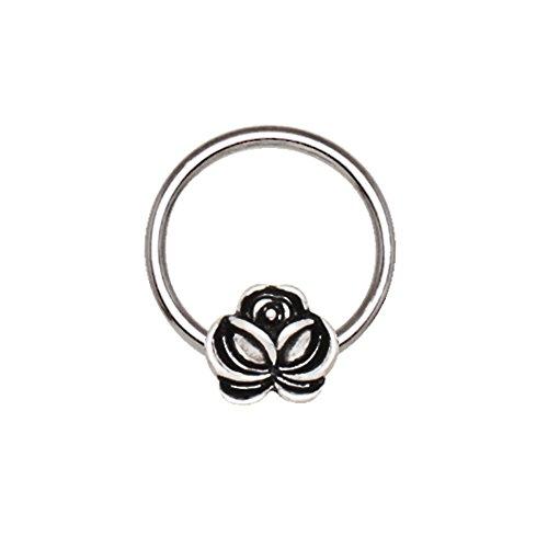 Antike überzogene Blume 1.2mm x 10mm Chirurgischer Stahl CBR Gefangener Korn-Ring Septum Universal Piercing (Mädchen Kostüme Gefangener)