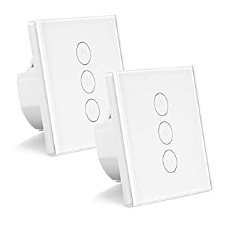 2 Pack WiFi Light Switch, FORNORM Smart Dimmer Switch 1 Gang Touch Compatible with Amazon Alexa/Google Home/IFTTT, APP Control for iOS Android, 2.4Ghz/400W, Neutral Wire Needed