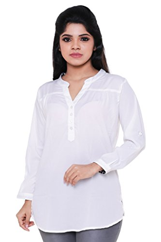 Twist Womens White Casual Party Wear 3/4th Sleeve Short Kurti Top,(M)
