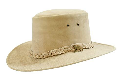Kakadu Traders Australia Kinder Leder-Hut Cowboy Hut in beige | geflochtenes Hutband mit geschwungener Krempe | Kinnbandösen -