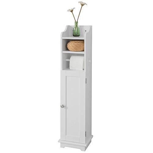 SoBuy FRG177-W Support Papier Toilette Armoire Toilettes Porte Brosse WC en Bois - Blanc