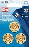 Prym 21mm Aufnäher Druckknöpfe, Messing, 3Stück Gold