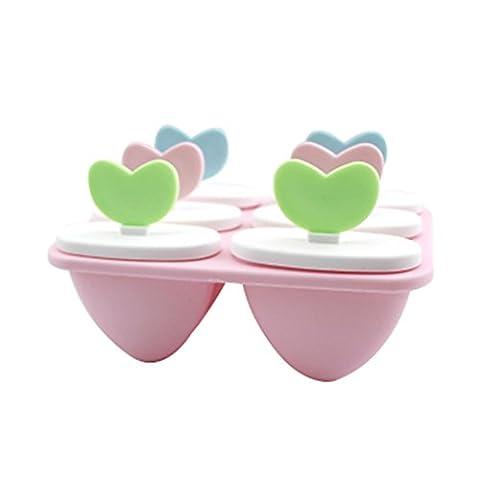 fundiy 6Love Herz Bright & bunter Kinder Ice Lolly Makers Ice Bar Formen Eis Popsicle Formen Ice Cube Tabletts, plastik, rose, 15.5*10.4*9.4cm