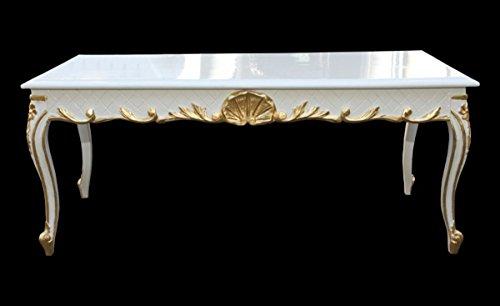 Casa Padrino Barock Couchtisch Weiß/Gold 120 x 60 cm Mod2 - Antik Look
