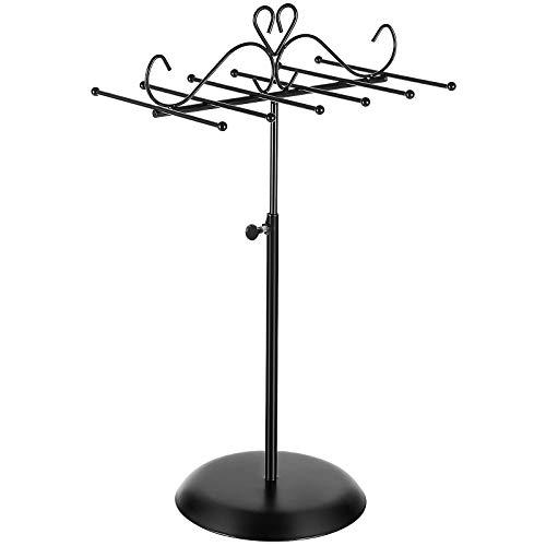 SONGMICS Schmuckständerhalter, Schmuckhalter aus Metall, für Halsketten, Armbänder und Ohrringe, als Geschenk, schwarz JJS04BK