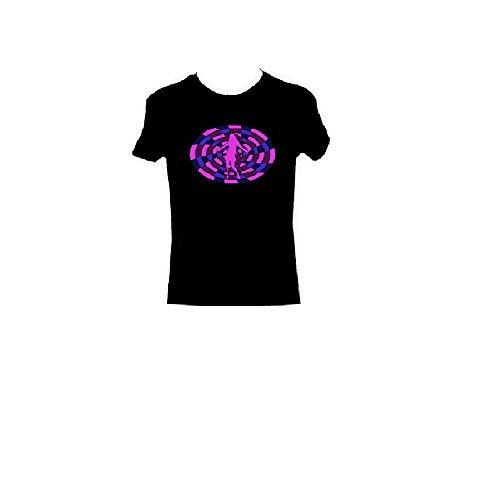 T-Shirt, Motivaufdruck - tanzende Frau vor violettem Wirbel, ideal für Clubbesuche, Motiv reagiert blinkend auf Klänge Gr. M, Schwarz