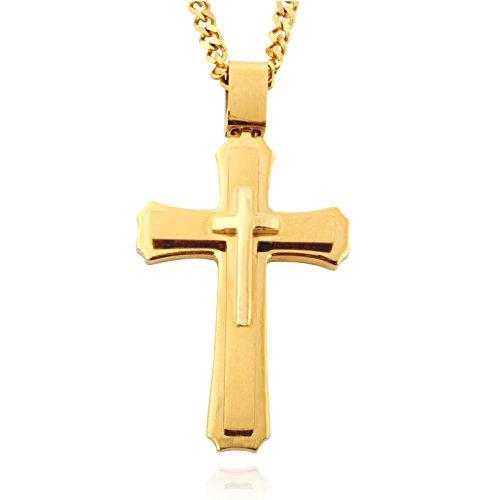 Edelstahl-Kreuz mit 61cm langer Halskette für Männer, großer Anhänger (Zeit Für Verkauf Der Herr Kostüm)