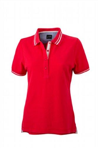 James & Nicholson Damen Poloshirt Ladies' Lifestyle Medium red/off-white