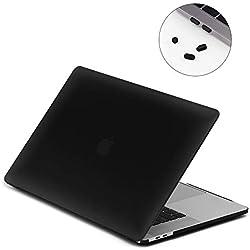 LENTION Étui Coque Mat pour Apple MacBook Pro (15 pouces, 2016-2018) Touch Bar, Usb C, A1707/A1990, Ultra Slim Coque Rigide Protection en Plastique avec Pieds en Caoutchouc - Noir Mat