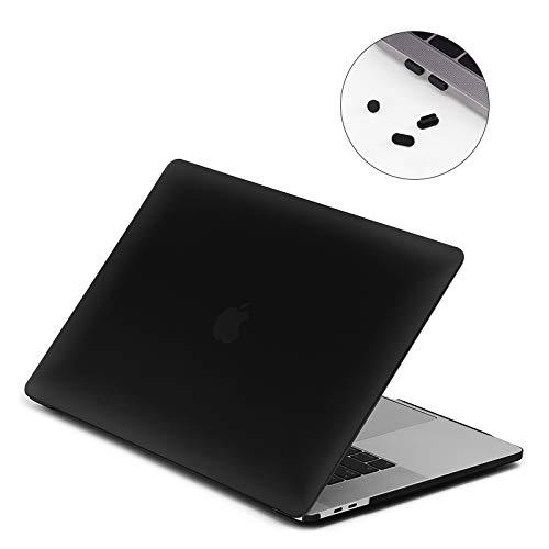 Lention Harte Hülle mit Anschlusssteckern kompatibel MacBook Pro (15 Zoll, 2016-2018, 4 Thunderbolt 3 Port) Modell A1707/A1990, mit Touch Bar und Touch ID, Matte Finish mit Gummifüßen (Frost Schwarz)