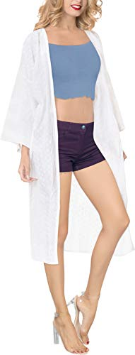 LA LEELA Damen Casual Baumwolle Kimono Cardigan Shawl Blusen Sommer Tops Cover up Leichte Jacke Strand Oberteil Weiß_A426 DE Größe: 42 (L) - 52 (4XL) (Capri-baumwoll-leibchen)