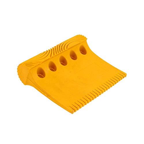 Lamptti Fünf-Loch-Holzmaserung Werkzeug Hand Muster Stempel für geprägte Wandkunst (gelb)