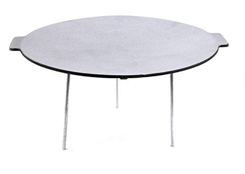 Gusseisen Grillplatte mit 3 Beinen für Lagerfeuer - Ø 45 cm, rund - Dutch Oven Ständer, Untergestell, Dutch Oven Tisch, Plancha, Grillpfanne
