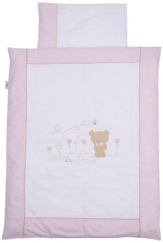 Easy Baby 415-42 Parure de lit 80 x 80 cm + 35/40 cm avec broderie de qualité Honey Bear Rose
