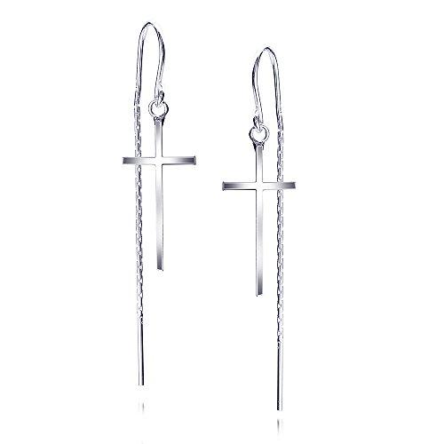 Pendientes pasadores Materia con forma de cruz, plata de ley 925, pendientes colgantes largos #SO-303