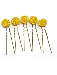 5 horquillas con rosas - accesorios para el cabello - para cabello plano - oro - Amarillo