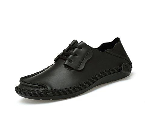 JACKSHIBO Erwachsene Leder Schnürhalbschuhe herren Klassiker Oxfords Sneaker Schwarz